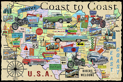Digital Art - Coast To Coast-i by Jean Plout
