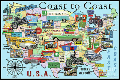 Drive-in Digital Art - Coast To Coast-n by Jean Plout