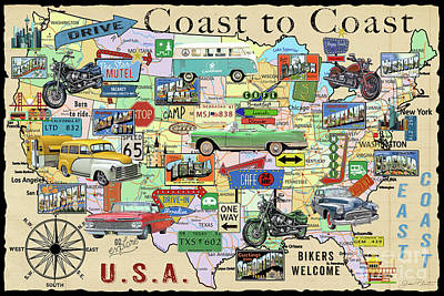 Drive-in Digital Art - Coast To Coast-o by Jean Plout
