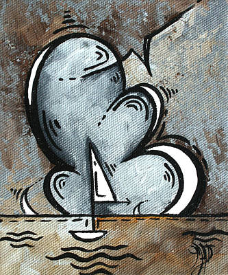 Coastal Art Contemporary Sailboat Painting Whimsical Design Silver Sea II By Madart Art Print by Megan Duncanson