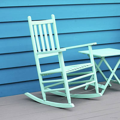 Painting - Coastal Beach Art - Blue Rocking Chair - Sharon Cummings by Sharon Cummings