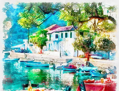 Coastal Cafe Greece Art Print