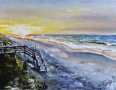 Sunrise Over Water Painting - Coastal Carolina Sunrise by Spencer Yancey