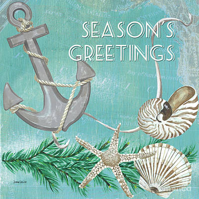 Seasons Greeting Painting - Coastal Christmas 4 by Debbie DeWitt