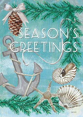 Christmas Greeting Painting - Coastal Christmas Card by Debbie DeWitt