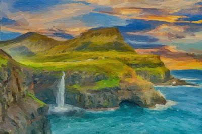 Scenic Painting - Coastal Cliff Waterfall Ca 2017 By Adam Asar by Adam Asar