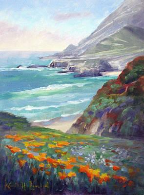 California Poppies Painting - Coastal Color, Big Sur by Karin Leonard