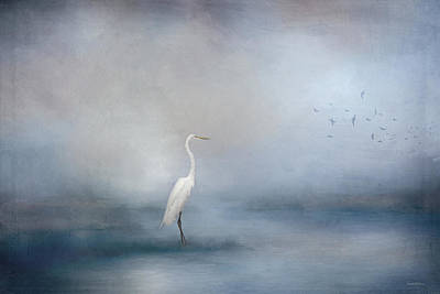 Digital Art - Coastal Egret by Teresa Wilson