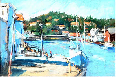 Coastal Fishing Village Art Print by Joan  Jones