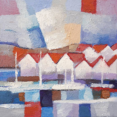 Abstractions Painting - Coastal Houses by Lutz Baar