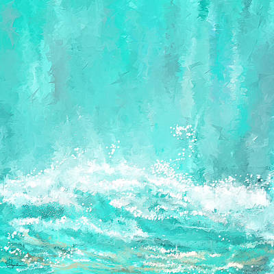 Surfing Art Painting - Coastal Inspired Art by Lourry Legarde