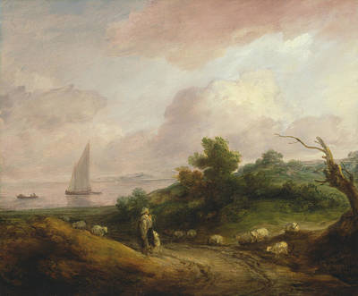 Coastal Landscape With A Shepherd And His Flock Art Print by Thomas Gainsborough