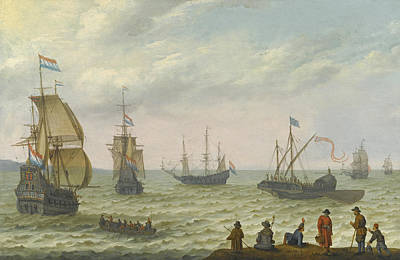 Painting - Coastal Landscape With Dutch Shipping In Choppy Seas by Abraham Willaerts