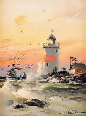 Historic Lighthouses Painting - Coastal Landscape With Lighthouse by Mountain Dreams