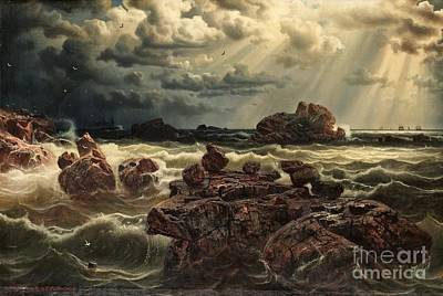Larson Painting - Coastal Landscape With Ship On The Horizon by MotionAge Designs