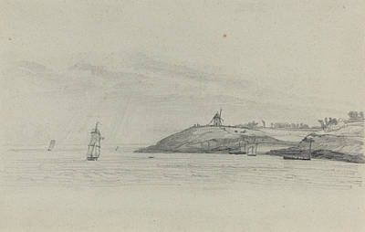 Eugene Drawing - Coastal Landscape With Shipping - Windmill In Distance by Eugene Boudin