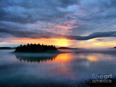 Maine Landscapes Digital Art - Coastal Maine Sunset by Edward Fielding