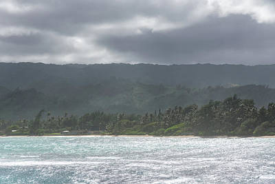 Photograph - Coastal Mountains - Clearing Storm On Oahu Island North Shore by Georgia Mizuleva