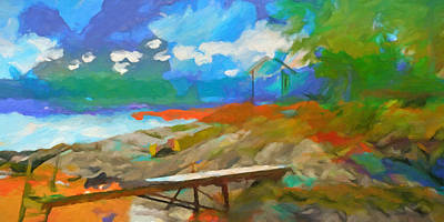Abstractions Painting - Coastal Panoramic Abstraction by Lutz Baar