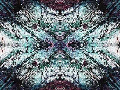 Coastal Rocks Brillig Turquoise Kaleidoscope Effect Original by Joy Nichols
