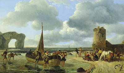 Loading Docks Painting - Coastal Scene by Jean Louis De Marne