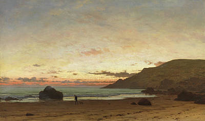 Sunrise At The Beach Painting - Coastal Scene With A Man And A Dog by Frederick William Meyer