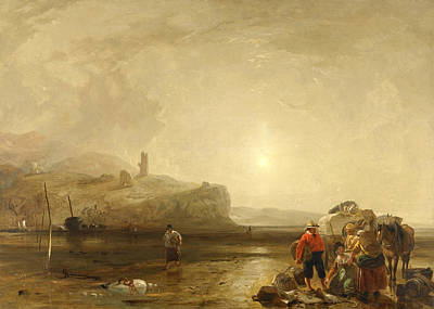 Augustus Wall Callcott Painting - Coastal Scene With Figures Bargaining For Fish by Augustus Wall Callcott