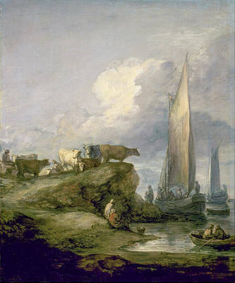 Coastal Painting - Coastal Scene With Shipping And Cattle by Thomas Gainsborough