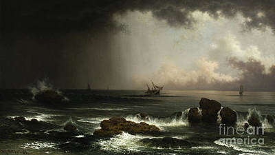 Lost At Sea Painting - Coastal Scene With Sinking Ship by Martin Johnson Heade