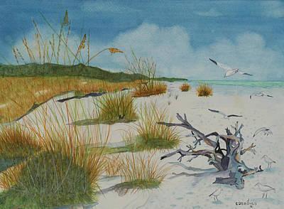 Beach Landscape Drawing - Coastal Seashore by John Edebohls