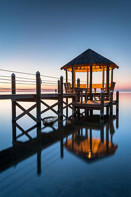 Coastal Serenity - Hatteras Island Gazebo On The Pamlico Sound Art Print by Mark VanDyke