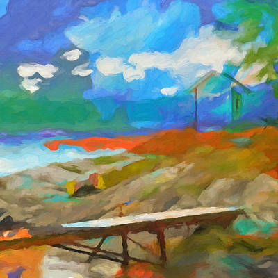 Abstract Seascape Painting - Coastal Square by Lutz Baar