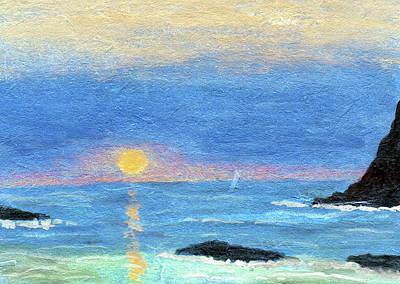 Painting - Coastal Sun And Crashing Waves by R Kyllo