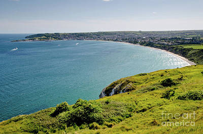 Sunny Photograph - Coastal Walk Swanage Bay Comes Into View Sweeping Beaches Dorset England Uk by Andy Smy