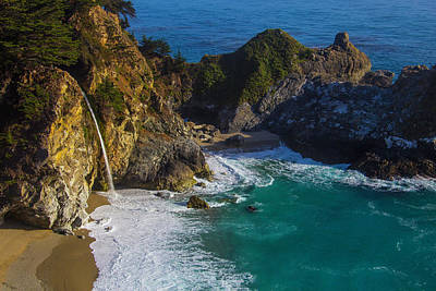 Of Big Sur Beach Photograph - Coastal Waterfall by Garry Gay
