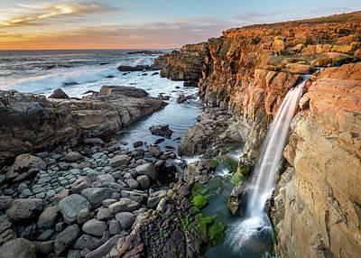 Photograph - Coastal Waterfall In California by Joe Doherty