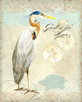 Painting - Coastal Waterways - Great Blue Heron 3 by Audrey Jeanne Roberts