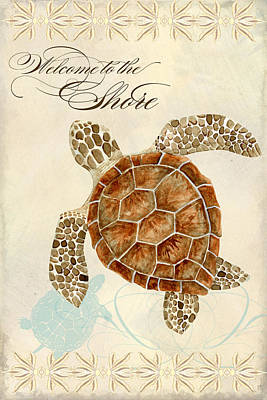Baby Sea Turtle Painting - Coastal Waterways - Green Sea Turtle by Audrey Jeanne Roberts