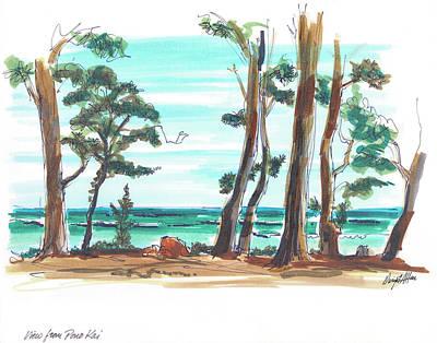 Clear Sky Drawing - Coastal Woods by Dwight F Allen