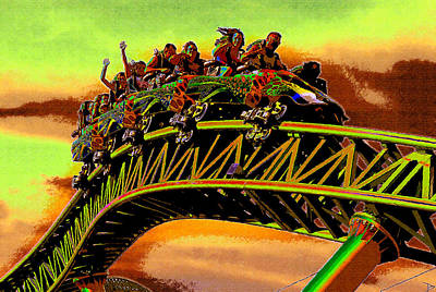 Roller Coaster Digital Art - Coaster Fun In The Florida Sun by David Lee Thompson