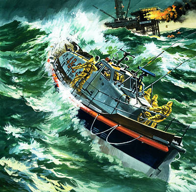 Oil Rig Painting - Coastguard Lifeboat by Wilf Hardy