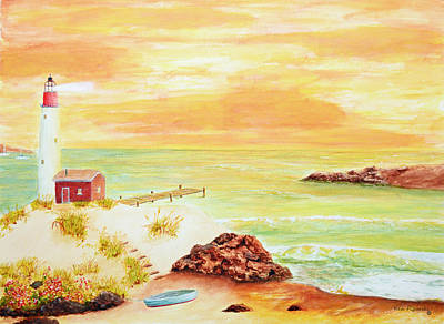 Cape Florida Lighthouse Painting - Coastline Lighthouse by Ken Figurski