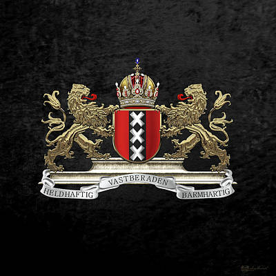 Digital Art - Coat Of Arms Of Amsterdam Over Black Velvet by Serge Averbukh