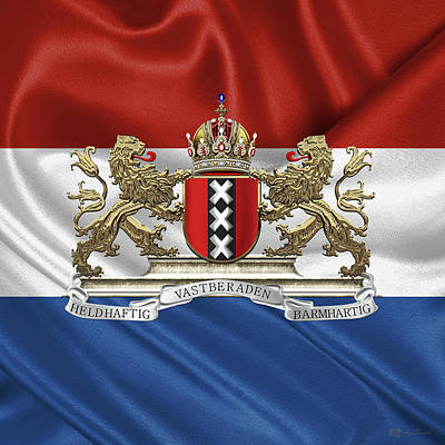 Coat Of Arms Of Amsterdam Over Flag Of The Netherlands Original