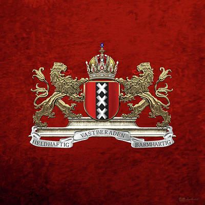 Digital Art - Coat Of Arms Of Amsterdam Over Red Velvet by Serge Averbukh
