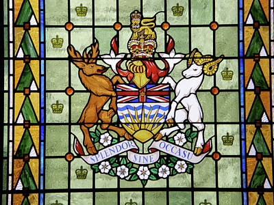 Glass Art - Coat Of Arms Of British Columbia by Photographer Makaristos