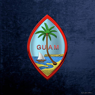 Digital Art - Coat Of Arms Of Guam - Guam State Seal Over Blue Velvet by Serge Averbukh