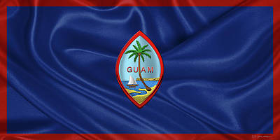 Digital Art - Coat Of Arms Of Guam - Guam State Seal Over Flag Of Guam  by Serge Averbukh
