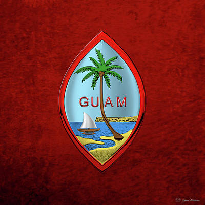 Digital Art - Coat Of Arms Of Guam - Guam State Seal Over Red Velvet by Serge Averbukh