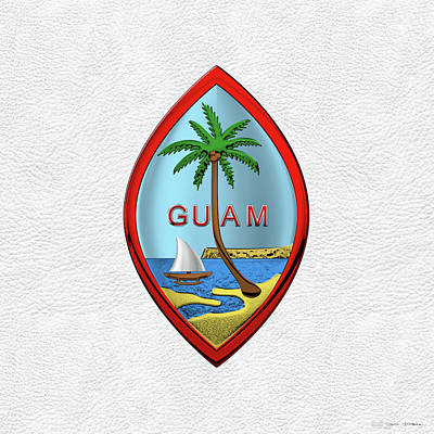 Digital Art - Coat Of Arms Of Guam - Guam State Seal Over White Leather by Serge Averbukh